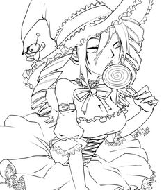 Cute witch with candy. Free Coloring Page