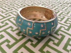 Nordstrom ~ Cuff Bracelet w Chevron Geometric Detail ~ Aqua Lacquer ~ NWOT ~  | eBay