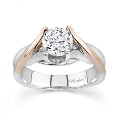 White & Rose Gold Solitaire Ring - 7076LPW