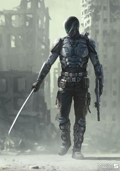 Futuristic Concept Art Character Design Science Fiction Ideas For 2019 Corporation RPG Arte Ninja, Ninja Art, Fantasy Character Design, Character Concept, Character Art, Animation Character, Robot Concept Art, Armor Concept, Weapon Concept Art