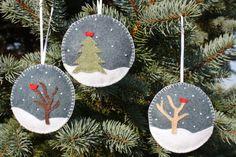 Conjunto de 3 adornos Navidad fieltro por GeorgeNRuby en Etsy