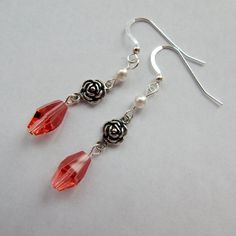 Check out this item in my Etsy shop https://www.etsy.com/listing/221992559/pink-swarovski-earringspearl-and