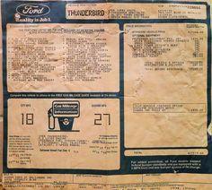 1988 Ford Thunderbird Turbo Coupe - window sticker. $17,979 USD. Concept Board, Ford Thunderbird, Window Stickers, Ads, Cutaway