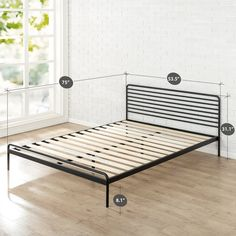 Update your bedroom with the new platform bed. Featuring a classic style metal headboard and low profile metal frame, this platform bed offers strong, durable wooden slat support for your spring, memory foam, latex or hybrid mattress.No box spring needed.