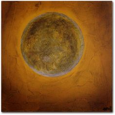 Trademark Fine Art Moon on Yellow Canvas Art by Nicole Dietz, Size: 14 x 14, Multicolor