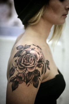 Female Shoulder Rose Tattoo Idea