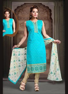 Buy Miraculous Art Silk Turquoise Embroidered Work Readymade Suit, Online #salwarkameez