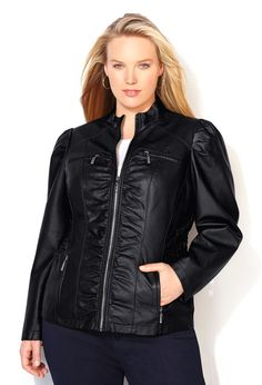 Smocked Faux Leather Jacket