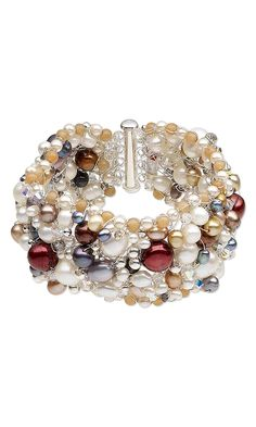 Jewelry Design - Bracelet with Cultured Freshwater Pearls, Swarovski Crystal Beads and Wirework - Fire Mountain Gems and Beads