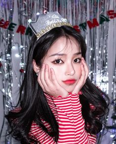 Image may contain: 1 person, stripes and closeup Pretty Korean Girls, Cute Korean Girl, Aesthetic People, Aesthetic Girl, Pretty People, Beautiful People, Girl Korea, Close Up, Ulzzang Korean Girl