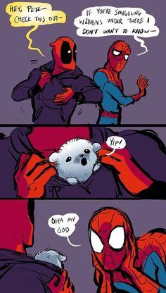 Marvel Universe 132645151510878934 - Spideypool Spider-Man Deadpool Source by Deadpool X Spiderman, Marvel Avengers, Funny Marvel Memes, Marvel Jokes, Marvel Dc Comics, Funny Comics, Funny Memes, Deadpool Funny, Funny Humour