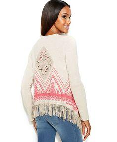 INC International Concepts Aztec-Knit Fringed Sweater - Sweaters - Women - Macy's