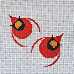 Charley Harper Needlepoint<BR>Cardinals in Flight (In Stock)