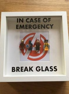 Lego Style Batman, Spiderman, Avengers or Superhero Minifigure BREAK GLASS Box Frame. Perfect Gift for Him, Gift for Her, Father's Day Lego Style Emergency Break Glass Frame Perfect Gift Batman Gifts, Marvel Gifts, Superhero Gifts, Superhero Superhero, Lego Gifts, Marvel Avengers, Lego Marvel, Marvel Memes, Lego Batman