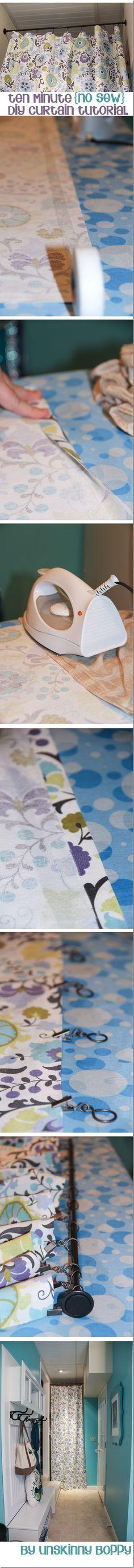 A 10 minute no sew diy curtain tutorial