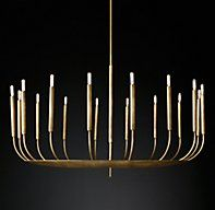 "Quenouilles Round Chandelier 48"" - RH Modern's Quenouilles Round Chandelier 48"":Created by renowned lighting designer Jonathan Browning, this fixture has the presence of modern sculpture. Mid-century in inspiration, delicate arms evoking organic forms culminate in Edison-style bulbs."