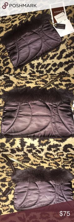 "Gorgeous Rabbit Fur and Satin Coach Wristlet New So Soft Chocolate Brown Satin Trimmed with Rabbit Fur 💙 New Never Used ❤️ This Beauty is from my Coach Wristlet Collection!! 💚 Authentic Coach from.......""The COACH Signature Collection"" Coach Bags Clutches & Wristlets"