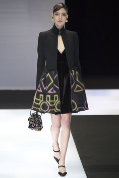 Chic Black Velvet Short Dress with a Black And Geometric Shape Design Coat in Yellow and Pink  by Emporio Armani, Look #35