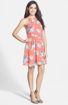 $46 @ Nordstrom: Farm or picnic wedding? The coral number is just the ticket! (Lush Blouson Chiffon Skater Dress )