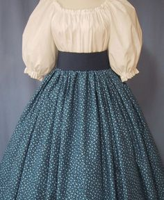 Navy Calico Long Skirt for Pioneer Costume - Frontier, Colonial, Civil War Reenactment - Navy Blue Print Cotton Fabric - Handmade