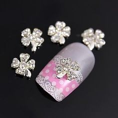 nananana 10pcs Cute Heart Petal Flower 3D Rhinestones Alloy Nail Art Decoration *** You can find out more details at the link of the image.