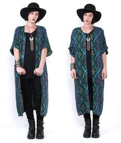80's TRIBAL Ethnic Print Oversized Duster by MamaStoneVintage