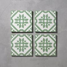 Green Basco Tile is part of Bert & May's handmade cement tile collection. Shop our range of quality tiles in plain or patterned styles, created using natural pigments. Floor Patterns, Tile Patterns, Tiles Uk, Cement Tiles, Cement Tile Backsplash, Decorative Tile Backsplash, Wall Tiles, Art Deco Bathroom, Bathroom Ideas