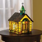 COUNTRY CHURCH STAINED GLASS ACCENT LAMP