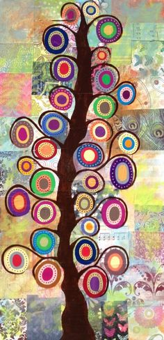 Mexican Folk Art Tree of Life Collage Flowers 12x24 Original Painting_AMBROSINO  #MexicanFolkArt