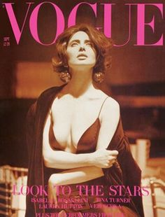Isabella Rossellini, Vogue September 1989, shot by Steven Meisel. 50's style, sex appeal, womanly silhouette
