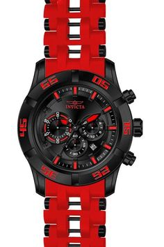 Invicta 21821 Men's Watch Sea Spider Red Strap Chronograph Black Dial