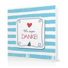 Dankeskarte Maritim in Eisvogel - Klappkarte quadratisch #Hochzeit #Hochzeitskarten #Danksagung #Foto #modern https://www.goldbek.de/hochzeit/hochzeitskarten/danksagung/dankeskarte-maritim?color=eisvogel&design=d366c&utm_campaign=autoproducts