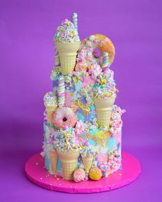 Candy Birthday Cakes, Ice Cream Birthday Cake, Cupcake Birthday Cake, Homemade Birthday Cakes, Candy Cakes, Cupcake Cakes, Ice Cream Cone Cake, Little Pony Cake, Baker Cake