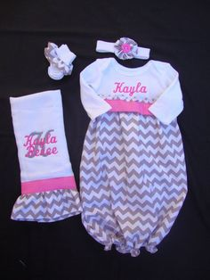http://www.infanteducationaltoys.com/category/infant-socks/ Personalized Newborn/ Infant Chevron Take Me Home Gown with Matching Headband, Burp Cloth