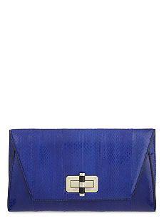 DIANE VON FURSTENBERG 440 snake-effect leather envelope clutch
