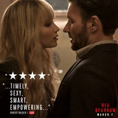 """See the film critics are calling """"Empowering."""" Red Sparrow is in theaters this Friday. Jennifer Lawrence Red Sparrow, Jennifer Lawrence Quotes, Red Sparrow Book, Jason Matthews, Ebook Cover Design, Fox Movies, Fox Tv, Thing 1, Book Cover Art"""