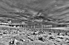 Penarth Pier 7 Monochrome by Steve Purnell South Wales, Great View, Seaside, Monochrome, Fine Art, Black And White, Wall Art, Knife Painting, Cardiff