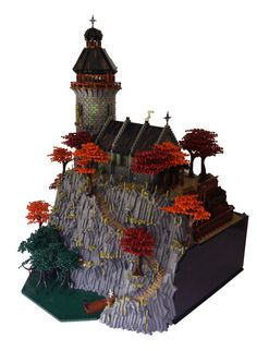 Ancient abbey rests atop a mountain of support Dinner Room Table, Chateau Lego, Lego Technic Truck, Round Tower, Lego Pictures, Lego Castle, Cool Lego Creations, Lego Architecture, Lego Projects