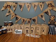 Bendy & the Ink Machine Birthday Party Decorations with Invitations (Fan Made) by PigCrumbs on Etsy Diy Birthday Banner, 9th Birthday, Happy Birthday Banners, Birthday Party Decorations, Party Themes, Party Ideas, Birthday Ideas, Sleepover Birthday Parties, Bendy And The Ink Machine