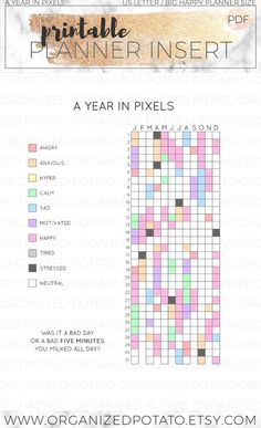 A Year in Pixels - Bullet Journal Inspired Daily Mood Tracker, Minimalist Tracker, US Letter Size Bullet Journal Page, Bullet Journal Tracker, Bullet Journal Notebook, Bullet Journal Inspiration, Bullet Journal Year In Pixels, Bullet Journal Yearly Spread, Bullet Journal Anxiety, Bullet Journal School, Diy Planner