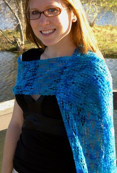 Peacock Feather Blue Lace Scarf Hand Knit by ScarfAceKnits on Etsy, $55.00