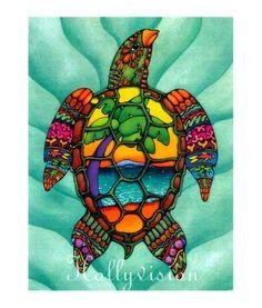 Sea Turtle abstract. $22.00, via Etsy.