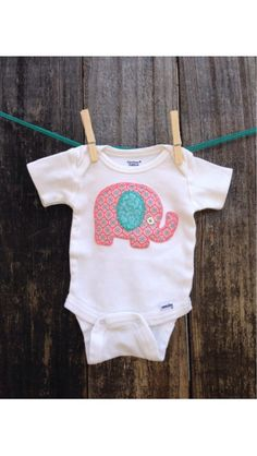 Baby girl coral and teal elephant bodysuit on Etsy, $12.00