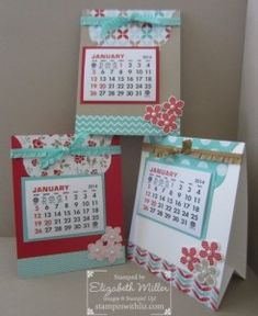 Liz's cute calendars featuring Petite Petals & its punch, Fresh Prints dsp stack, & Labels framelits. All supplies from Stampin' Up! except for the calendars.