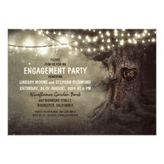 Rustic engagement party invitation featuring old oak tree and string lights accents. The tree is carved with a heart shape and your initials. Perfect invitation for rustic country engagement party with tree theme and twinkle lights decorations. Twinkle lights, string lights or lanterns can add a very special touch to your party.  Fully cusomizable http://bezazzled.com http://customprintpersonalizedweddingengagementpartyinvitationcards.com #personalizedweddinggifts #personalizedengagement