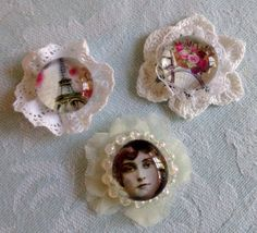 Lovely magnets set  Shabby chic by TeacupAndRoses on Etsy