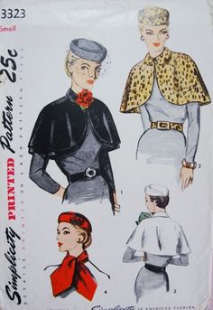 1950s Stunning Hat Cape Scarf and Belt Pattern Simplicity 3323 Day or Evening Wear Accesories Vintage Sewing Pattern