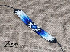 American Native Bracelet, Black and Colorful Blue Bracelet, Loom Beaded Bracelet Loom Bracelet Patterns, Bead Loom Bracelets, Bead Loom Patterns, Beading Patterns, Seed Bead Jewelry, Bead Earrings, Beaded Jewelry, Seed Beads, Beadwork Designs