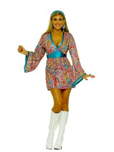 Wild Swirl Dress Adult Costume | Wholesale 70's Halloween Costume for Women