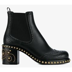 Miu Miu studded Chelsea boots (€1.395) ❤ liked on Polyvore featuring shoes, boots, ankle booties, leather ankle booties, genuine leather boots, studded booties, block heel booties and chelsea bootie